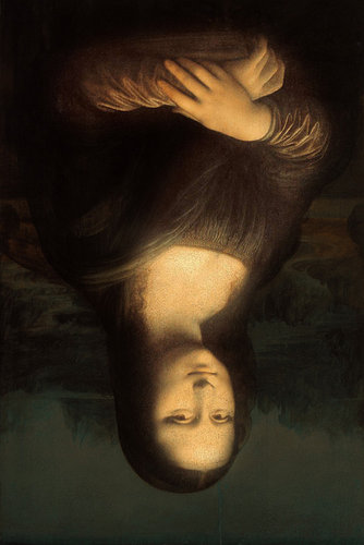 Upside down painting of Mona Lisa