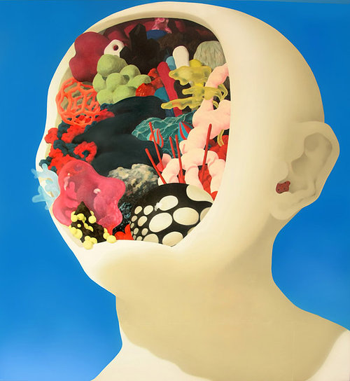 painting of a head with the face cutout and organic shapes inside