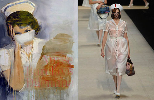 painting of a nurse wearing a surgical mask and a photo of a fashion model wearing same outfit