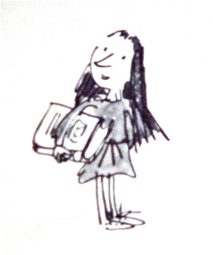 drawing of a girl holding a book