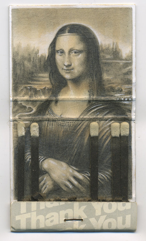 drawing of Mona Lisa inside a matchbook