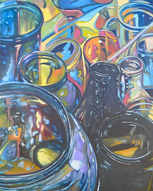 A colourful oil painting of the openings of several glass bottles