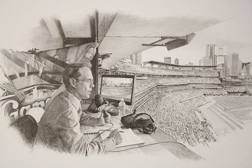 A black and white drawing of a sports announcer at a stadium