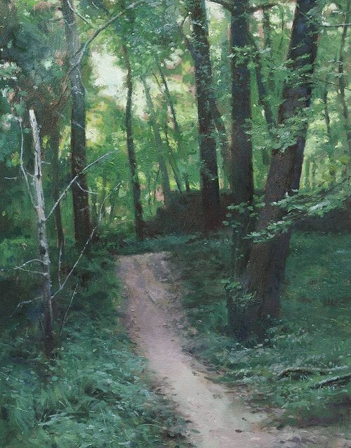 A painting of a dirt path through a wooded area