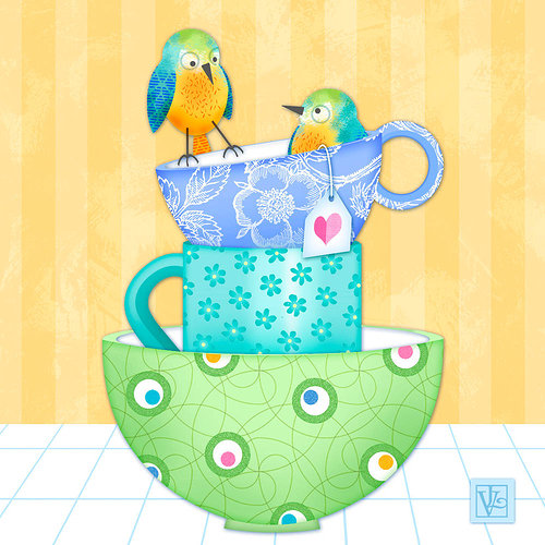 A cartoonish image of two birds perched atop a stack of teacups