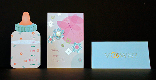 Three greeting cards for themes including birth and marriage