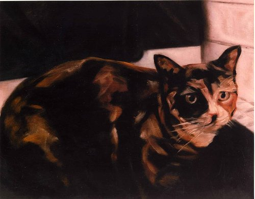 An oil painting of a cat