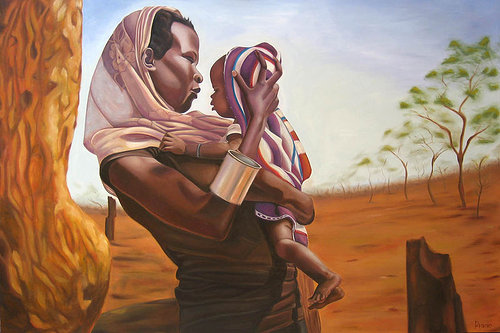 A painting of a Sudanese woman holding a baby