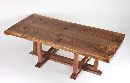 a modern walnut coffee table