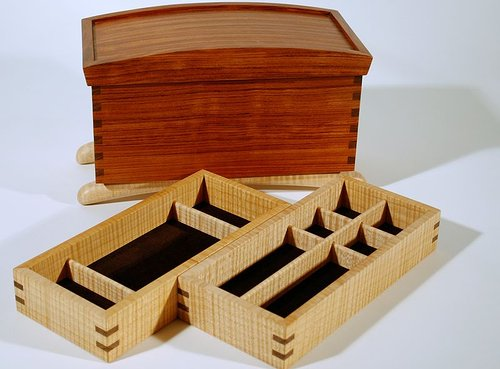A jewelry box made from bubinga and curly maple