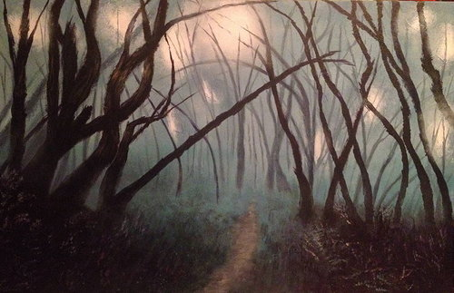 A painting of the bare trees silhouetted in mist
