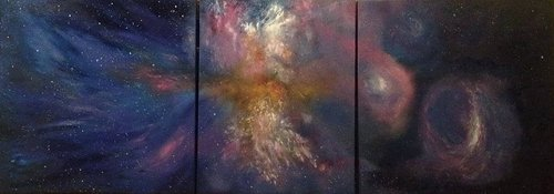A tryptich of a nebula in outer space