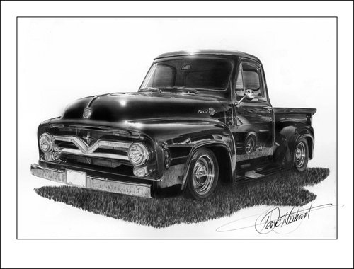A realistic drawing of a vintage pickup truck