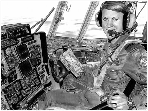 A drawing of a woman in the cockpit of a C-130 airplane