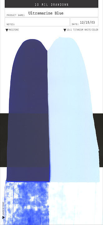 A smear of paint in the colour Ultramarine Blue