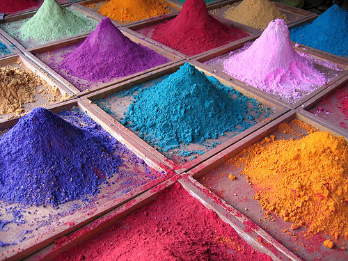 Piles of brightly coloured pigments