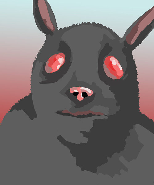 A digital drawing of an anthropomorphized black rabbit-like creature