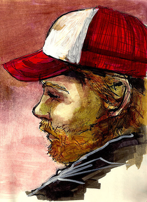 A colour drawing of a young man wearing a baseball cap