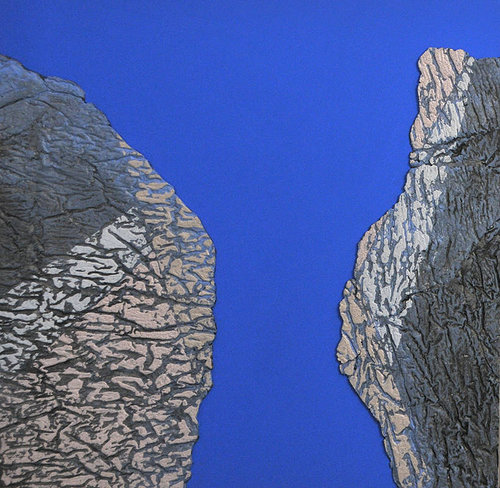 An abstract painting using pieces  of cast cotton on a blue background