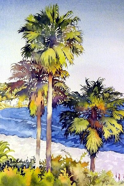 A watercolour painting of palm trees at the beach