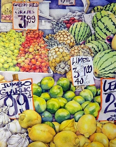 A detailed drawing of fruit for sale at an outdoor market