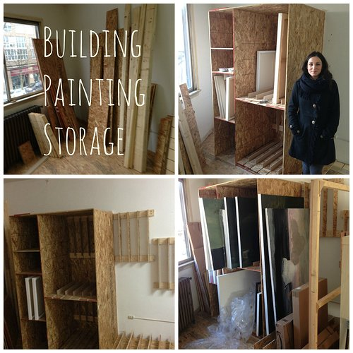 Building studio storage for paintings