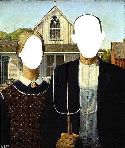 Famous painting American Gothic by grant wood with faces removed