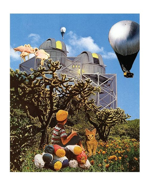A collaged image of a surreal scene with weather balloons and a young boy