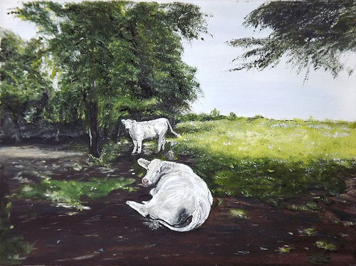 An oil painting of two white cows in the shade