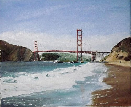 A painting of a view looking up at the Golden Gate Bridge