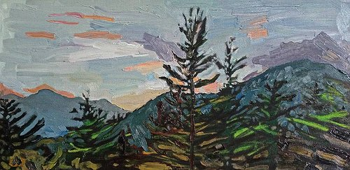 An oil painting of an evergreen treeline