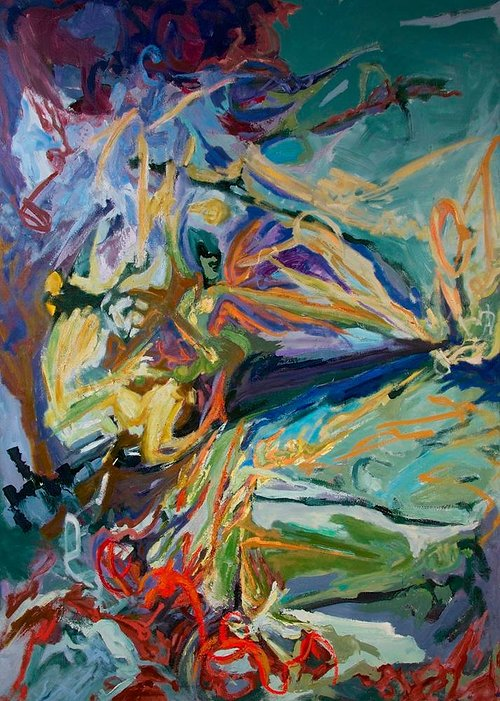 An abstract painting with many long colourful brushstrokes