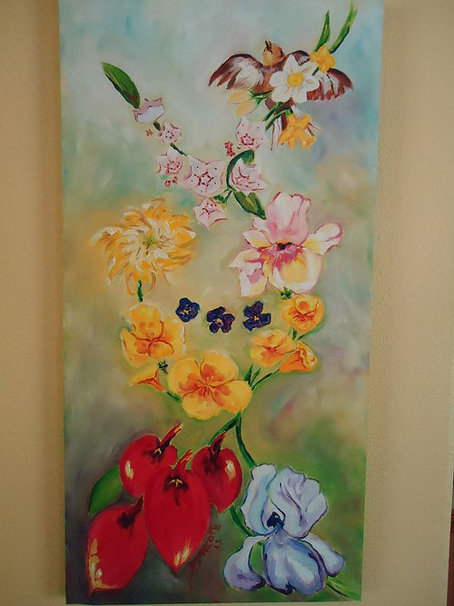 A painting of several types of flowers that have different meanings