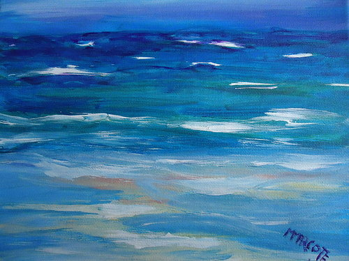 A loose oil painting of a blue seascape