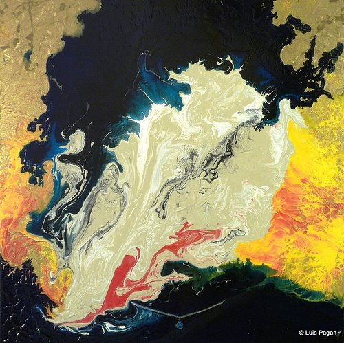 An abstract painting made by pouring layers of thin paint onto a surface
