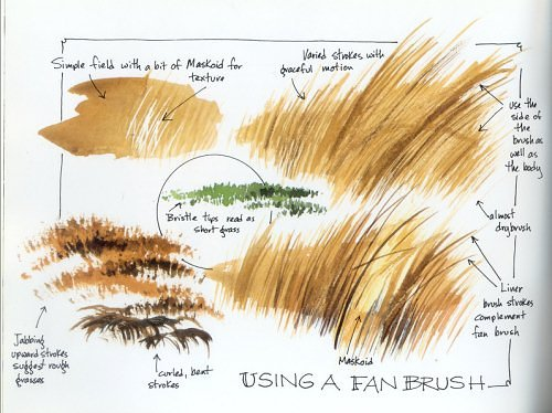 painting grass with a fan brush