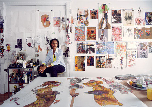 A photo of artist Wangechi Mutu in her studio