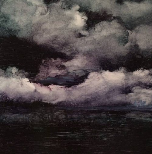 A dark grey and black painting of clouds over the ocean