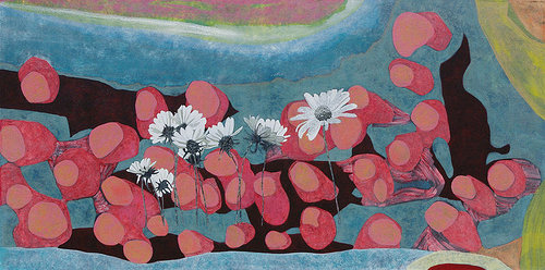A painting with some daisies inserted into an abstract, pink and blue background