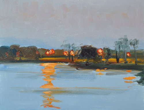A small, loose painting of a rural sunset
