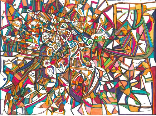 An abstract work of ink drawing with colourful shapes defined by overlapping lines
