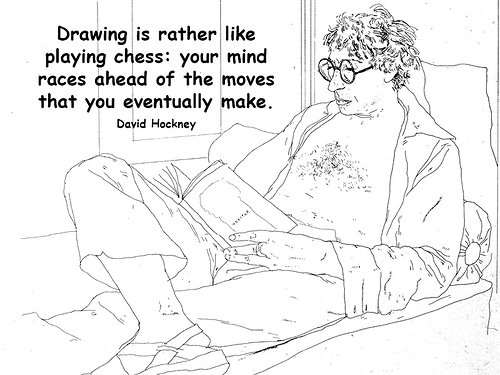 Drawing of David Hockney with a quote