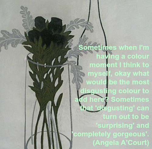 Angela ACourt quote about choosing ugly colours