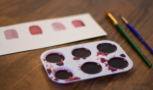 wine on a paint palette