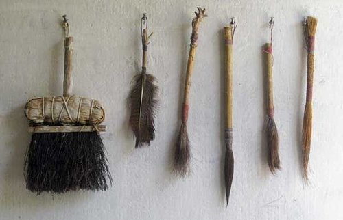 series of different hand made paint brushes