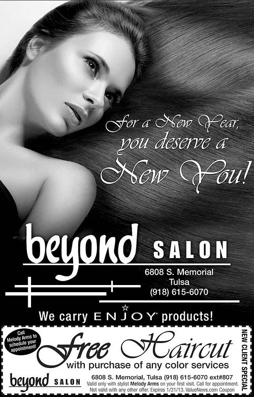 A magazine advertisement for a hair salon