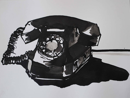 An ink drawing of a rotary telephone