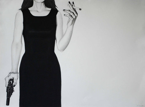 A charcoal drawing of a woman in a cocktail dress holding a gun and a cigarette