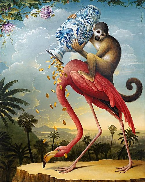 A painting of a monkey tipping coins out of a vase onto a flamingo, painted in a classical realist style