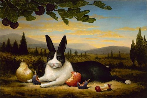 A classically realistic painting of a hare sitting among half-eaten fruits